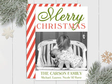Load image into Gallery viewer, Merry Christmas Stripes - Custom Photo Card