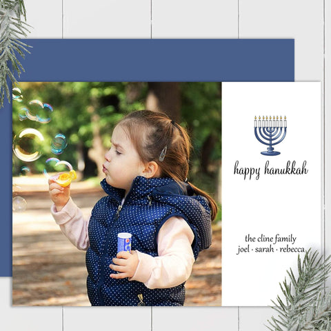 Hanukkah Menorah - Custom Photo Card