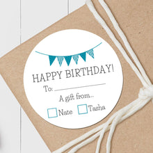 Load image into Gallery viewer, Birthday Pennant - Round Gift Sticker
