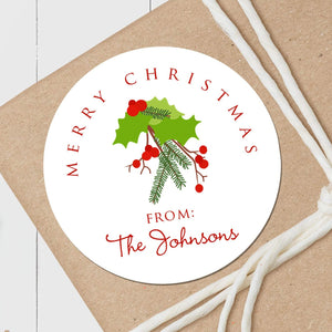 Christmas Holly - Round Gift Sticker