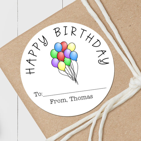 Birthday Balloons - Round Gift Sticker