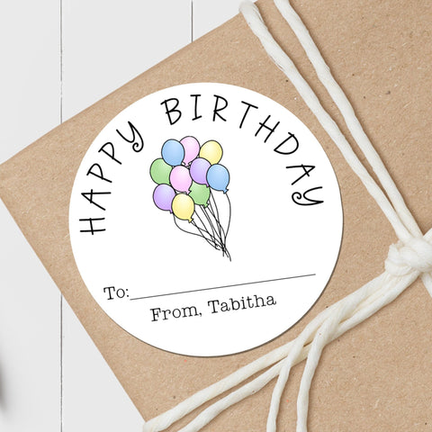 Birthday Balloons Pastel - Round Gift Sticker