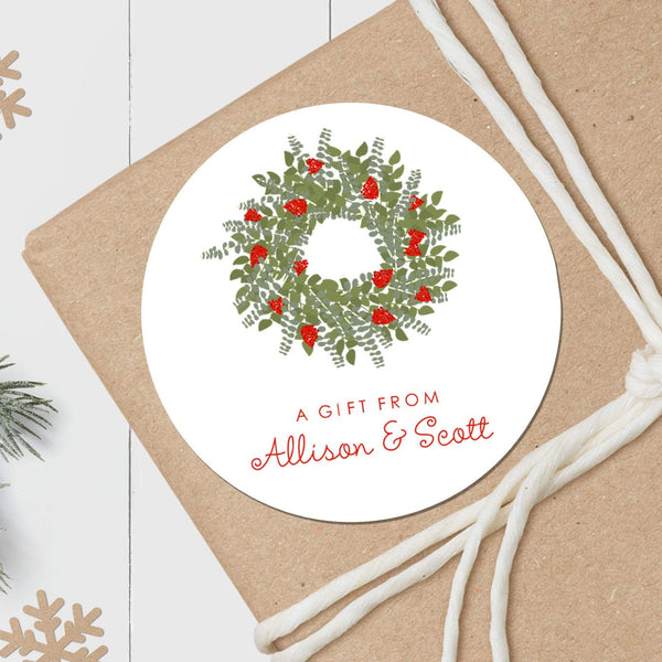 Christmas Wreath - Round Gift Sticker