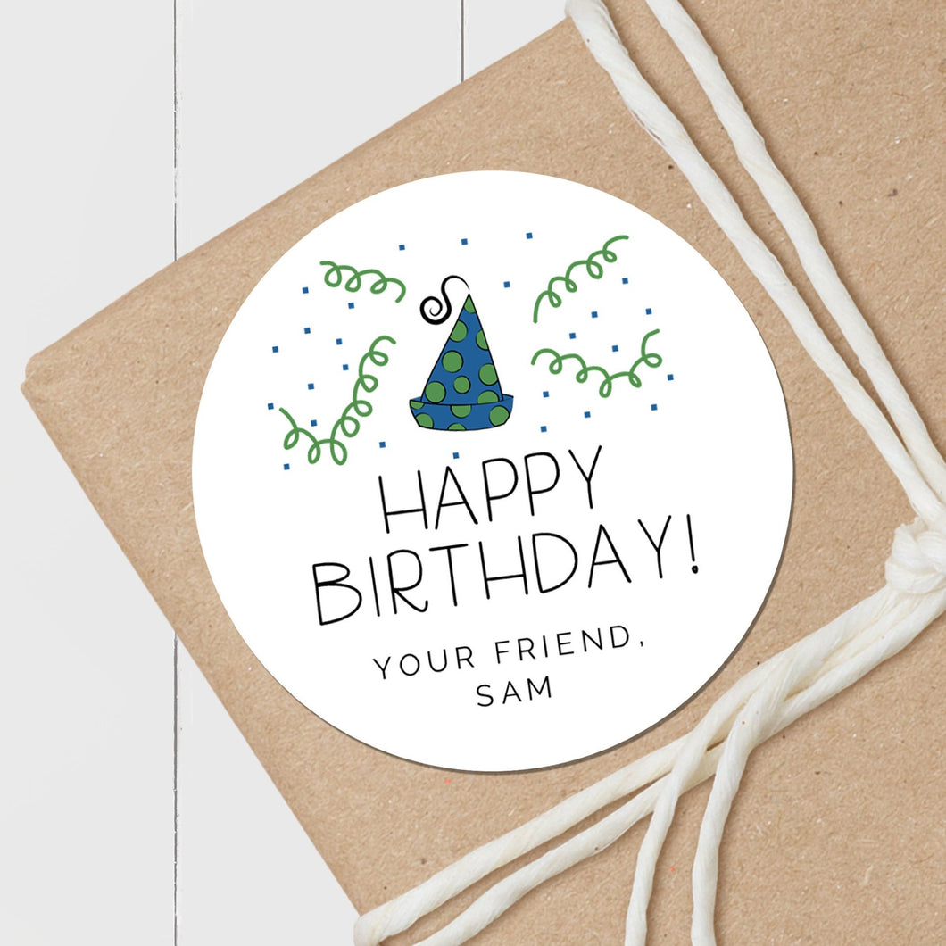 Party Hat Blue and Green - Round Gift Sticker