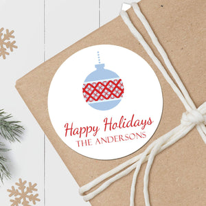 Argyle Ornament - Round Gift Sticker