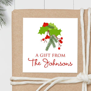 Christmas Holly - Square Gift Sticker