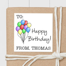 Load image into Gallery viewer, Birthday Balloons - Square Gift Sticker