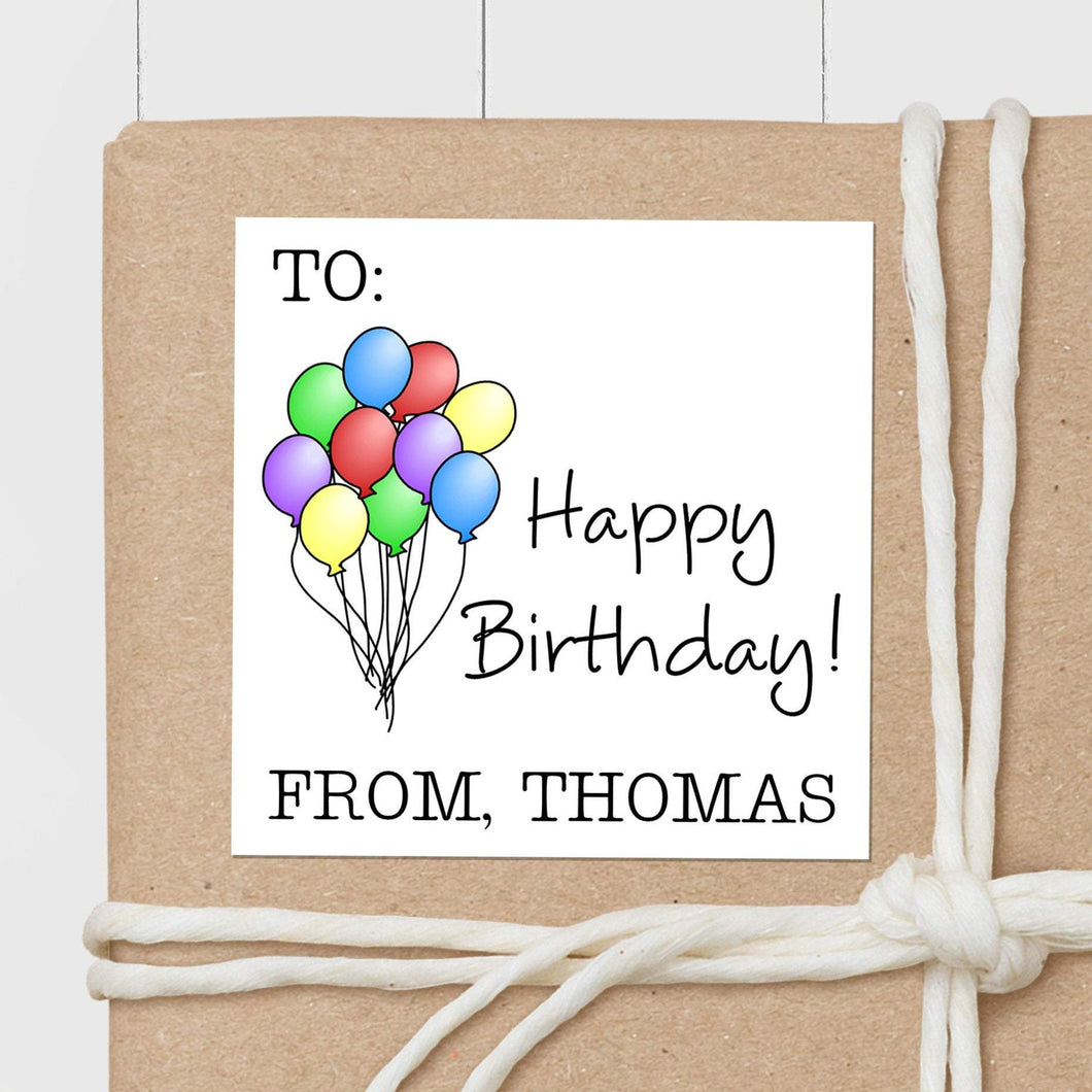 Birthday Balloons - Square Gift Sticker