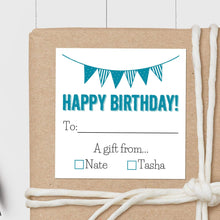 Load image into Gallery viewer, Birthday Pennant - Square Gift Sticker