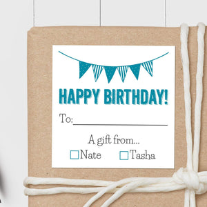 Birthday Pennant - Square Gift Sticker