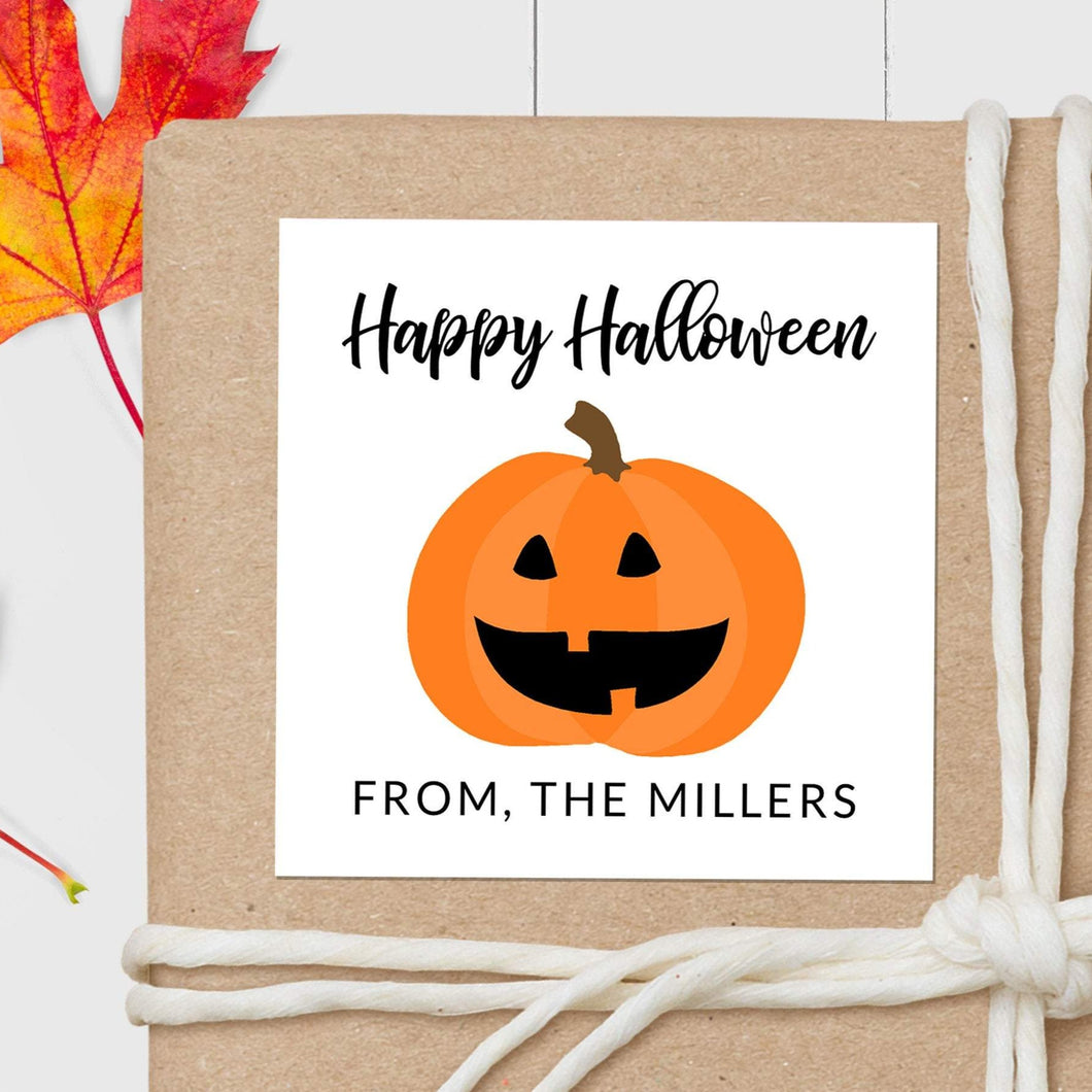Halloween Pumpkin - Square Gift Sticker