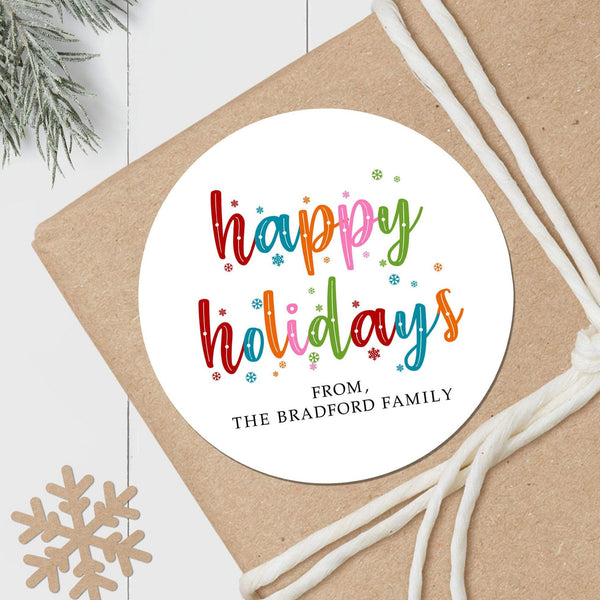 Colorful Snowflakes - Round Gift Sticker