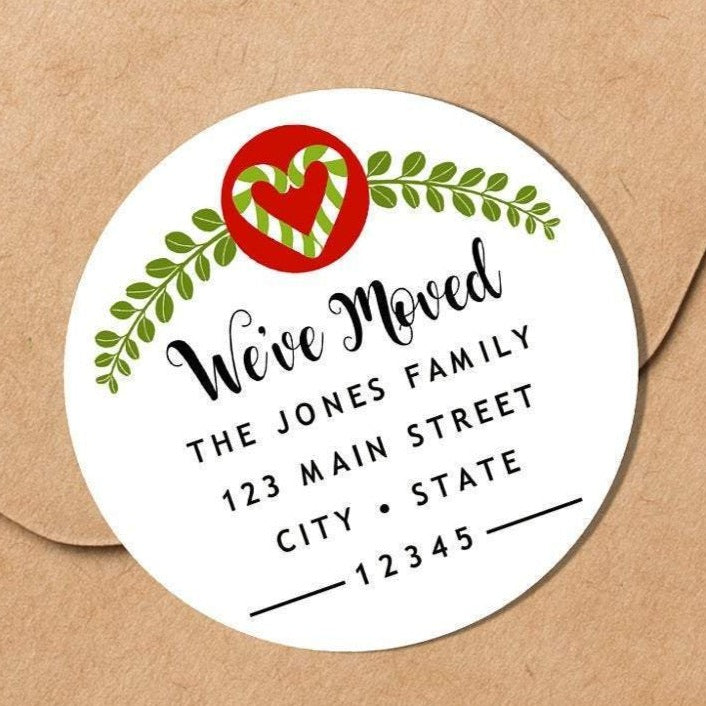 We Have Moved - Christmas Heart Envelope Seal - Round Address Label