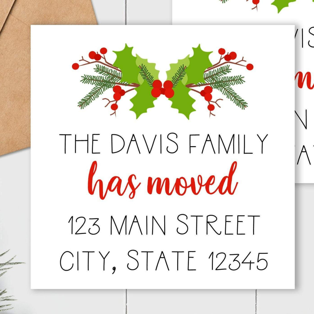 We Have Moved - Christmas Holly Sticker - Square Address Label