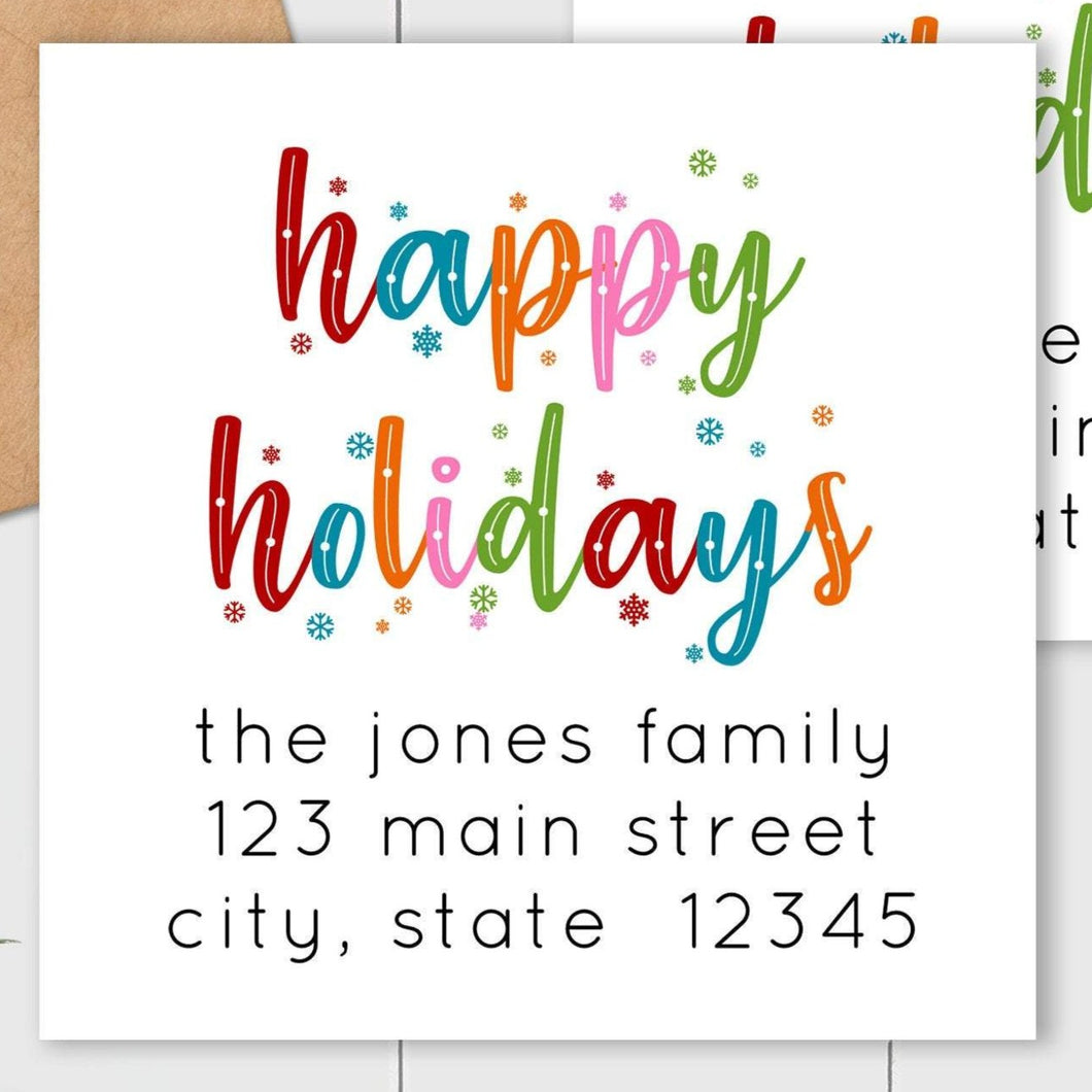 Happy Holidays - Colorful Snowflakes - Square Address Label