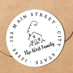 House with Chimney - Round Address Label