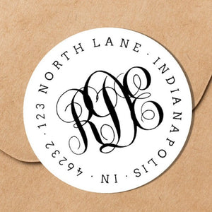 Classic Interlocking Monogram Envelope Seal - Round Address Label