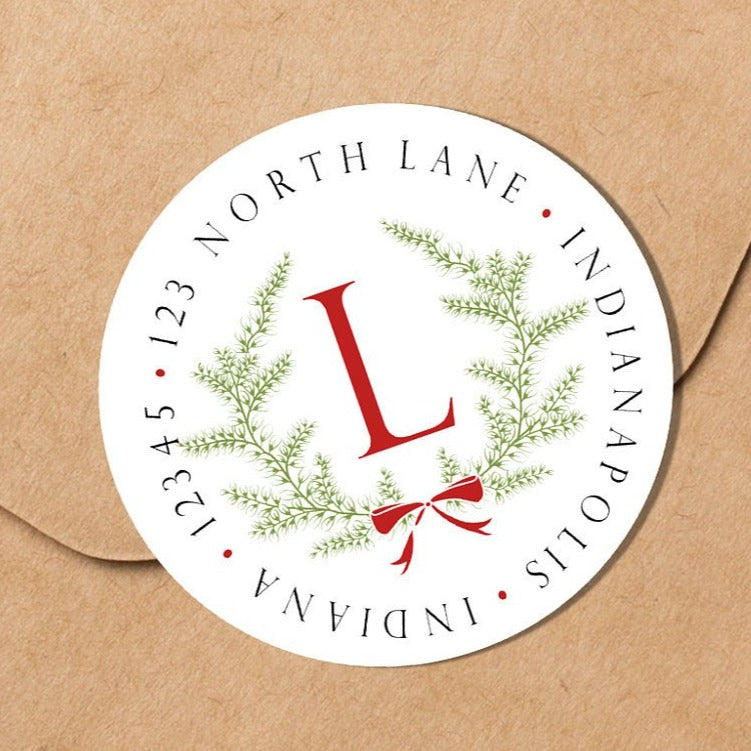 Christmas Wreath Envelope Seal - Round Address Label