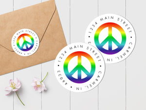 Rainbow Peace Sign Envelope Seal - Round Address Label