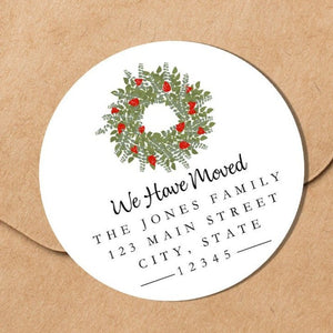 We Have Moved - Welcome Wreath Sticker - Round Address Label
