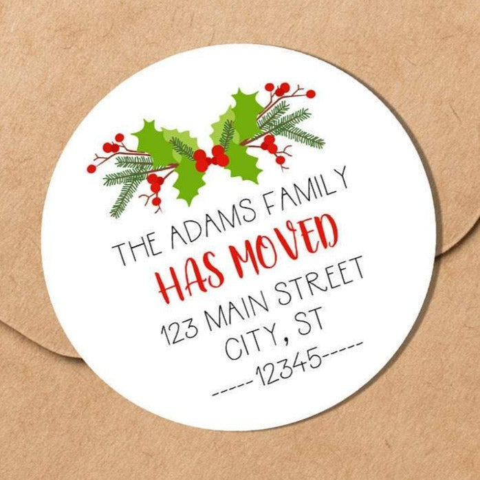 We Have Moved - Christmas Holly - Round Address Label