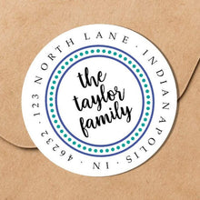 Load image into Gallery viewer, Dotted Border Blue and Teal Family Sticker - Round Address Label