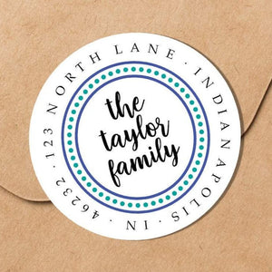 Dotted Border Blue and Teal Family Sticker - Round Address Label