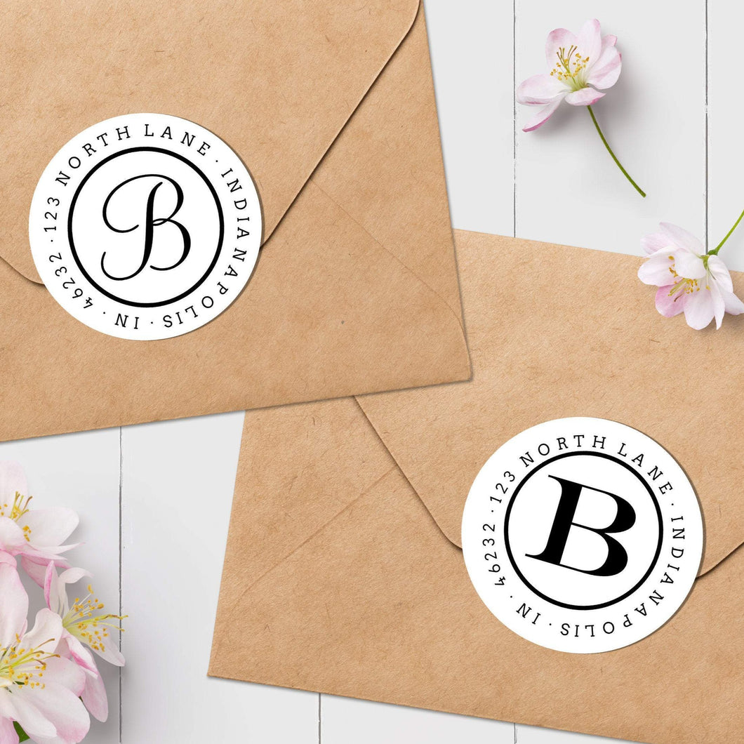 Classic Initial Envelope Seal - Round Address Label