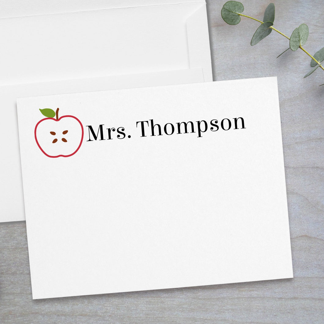 Red Apple Slice -  Flat Note Card