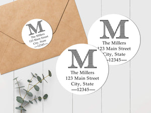 Houndstooth Initial - Round Address Label