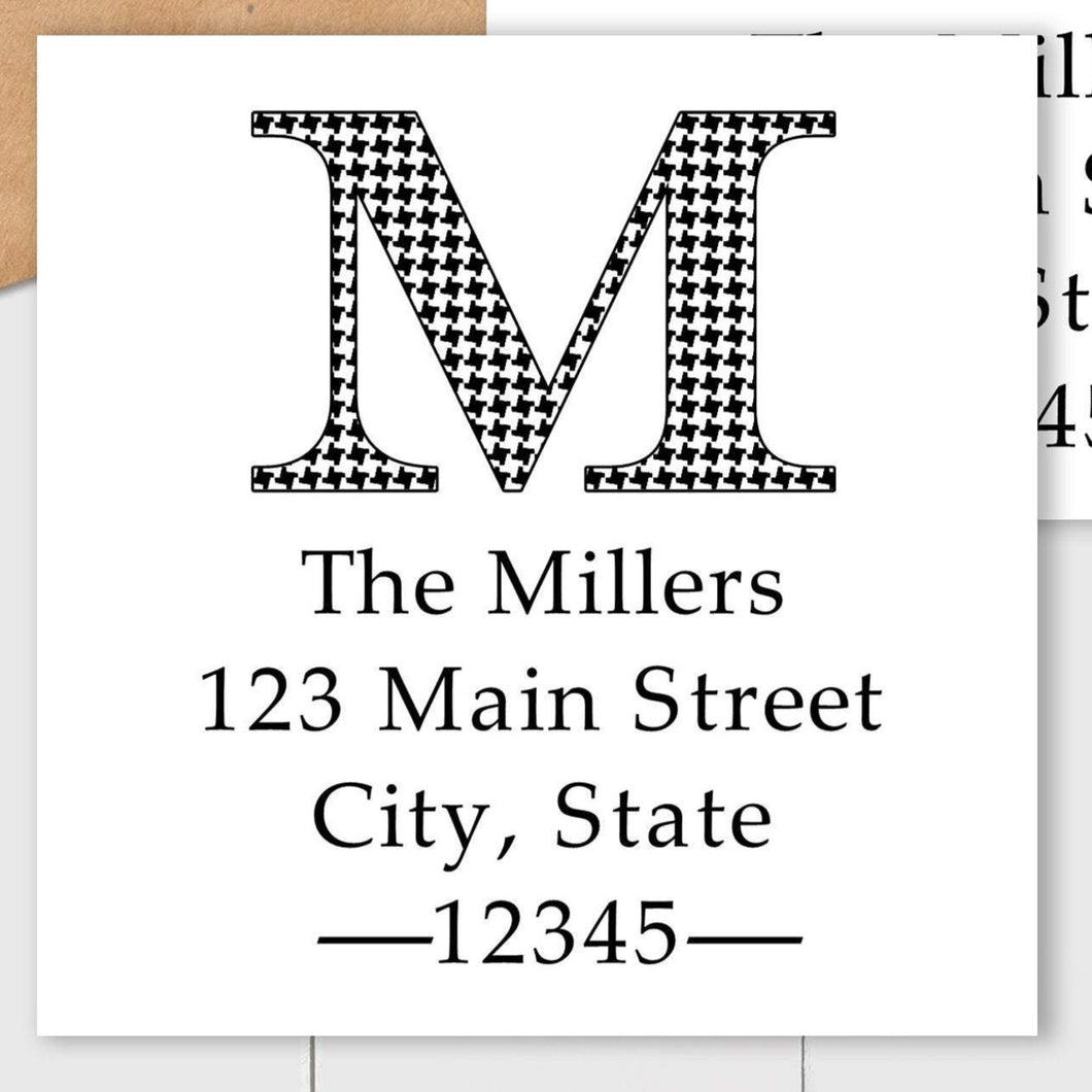 Houndstooth Initial - Square Address Label