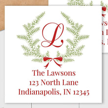 Load image into Gallery viewer, Christmas Wreath - Square Address Label