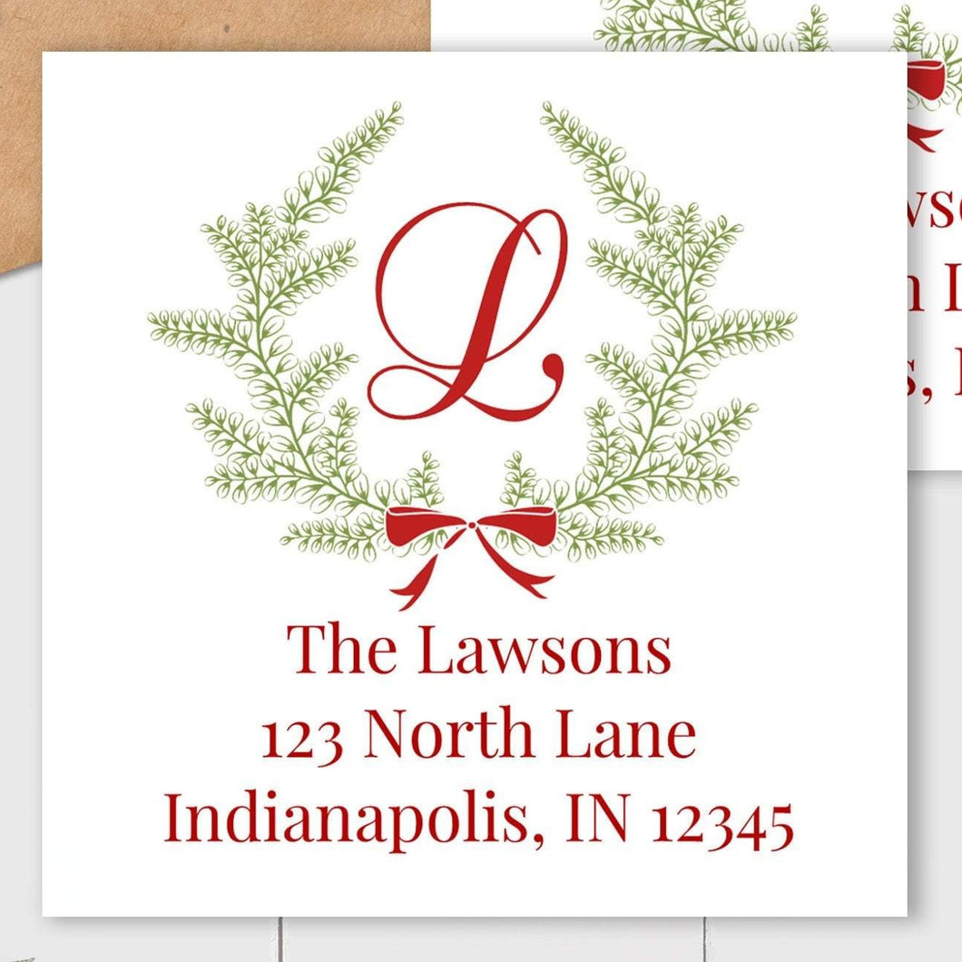 Christmas Wreath - Square Address Label