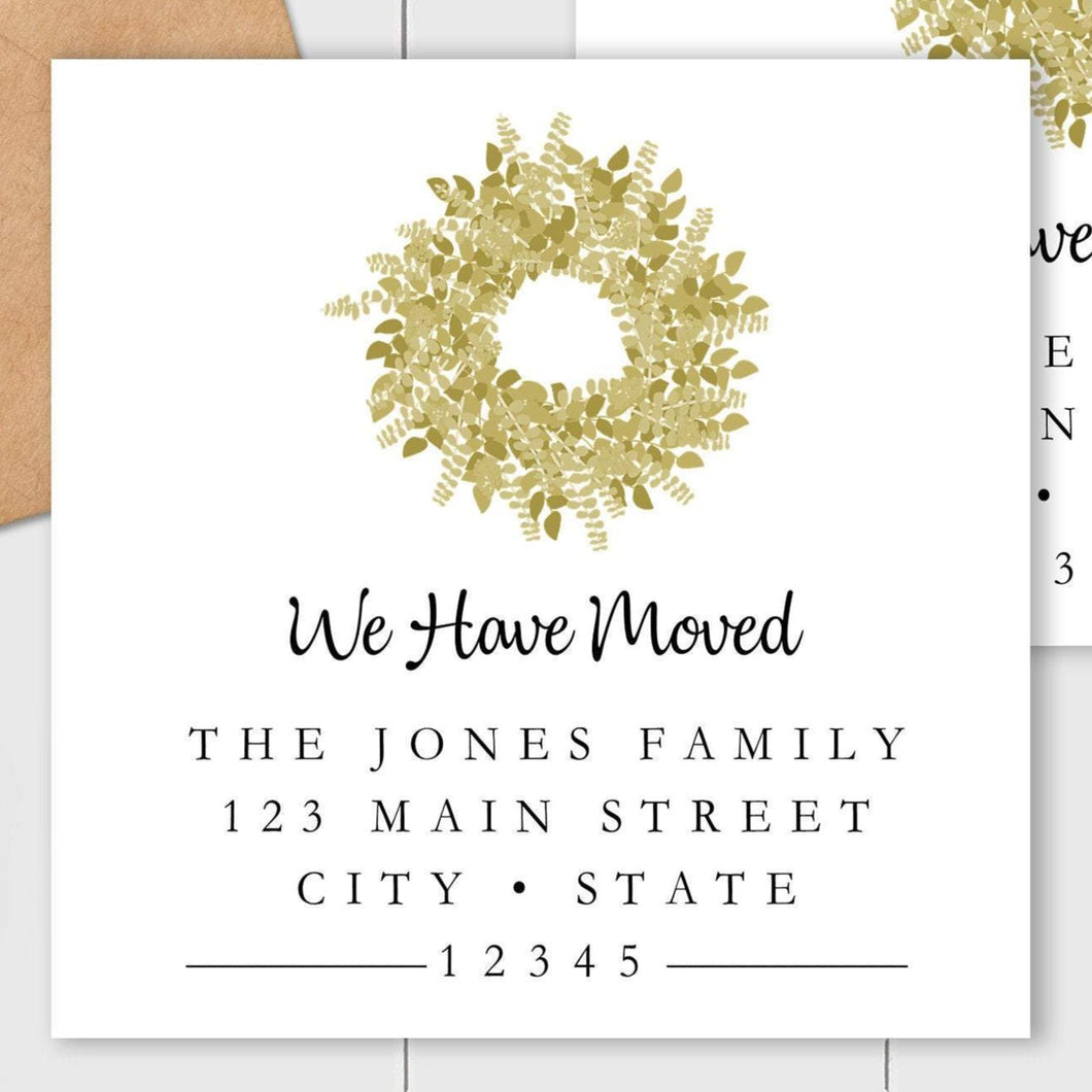 We Have Moved - Welcome Wreath Sticker - Square Address Label