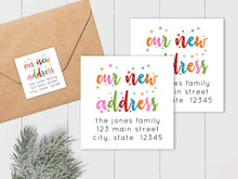 Load image into Gallery viewer, We Have Moved - Colorful Snowflakes - Square Address Label
