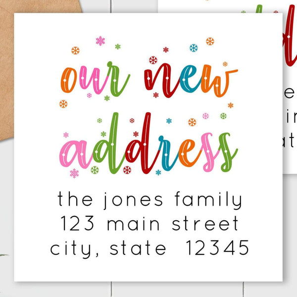 We Have Moved - Colorful Snowflakes - Square Address Label