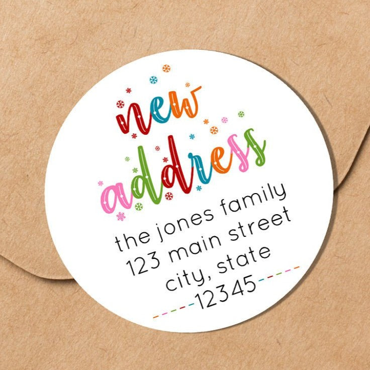 We Have Moved - Colorful Snowflakes - Round Address Label