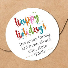 Load image into Gallery viewer, Happy Holidays - Colorful Snowflakes - Round Address Label