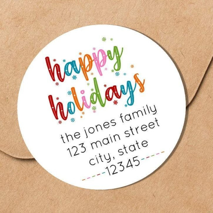 Happy Holidays - Colorful Snowflakes - Round Address Label