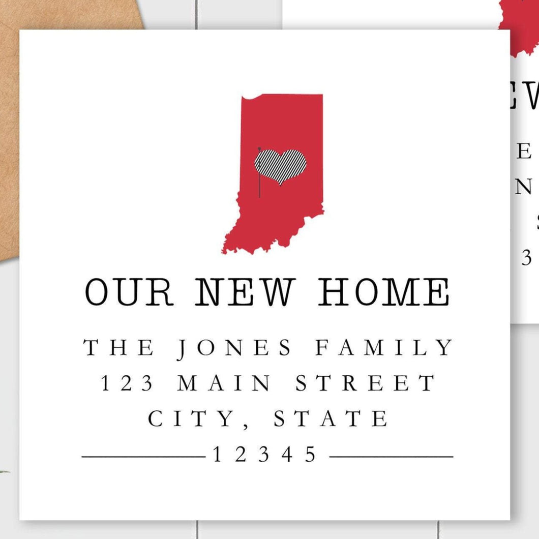 We Have Moved - Home Sweet Home State - Square Address Label