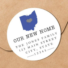 Load image into Gallery viewer, We Have Moved - Home Sweet Home State - Round Address Label