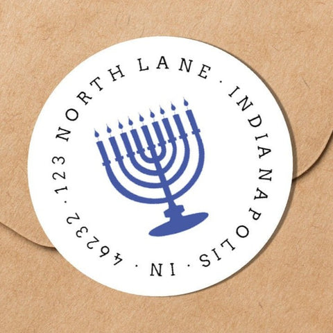 Hanukkah Menorah Envelope Seal - Round Address Label