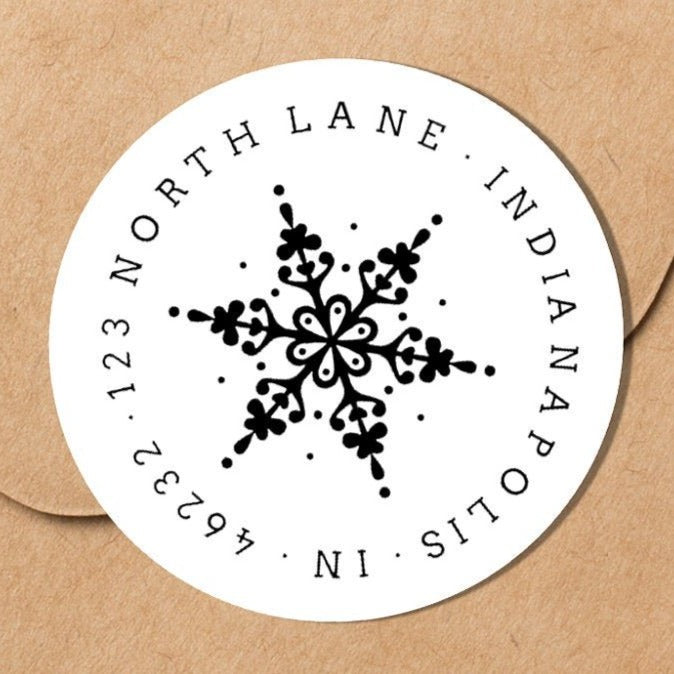 Elegant Snowflake Envelope Seal - Round Address Label