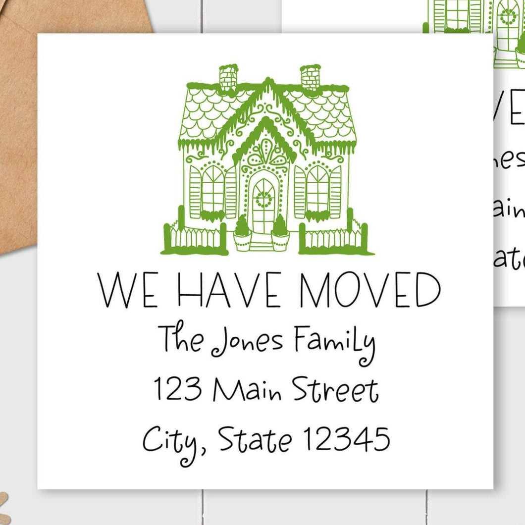 We Have Moved - Gingerbread House - Square Address Label