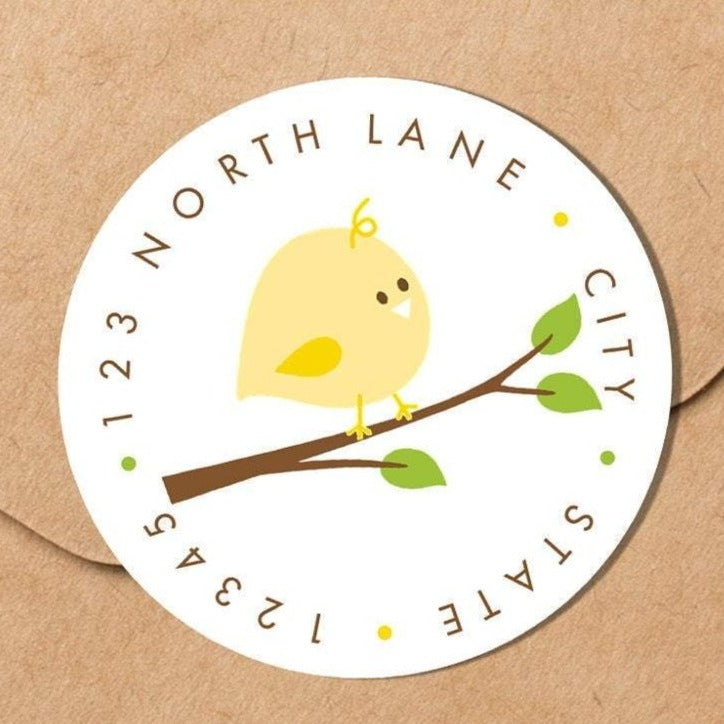Baby Bird - Round Address Label