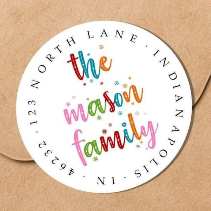 Colorful Snowflakes Family Sticker - Round Address Label