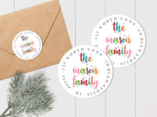 Load image into Gallery viewer, Colorful Snowflakes Family Sticker - Round Address Label