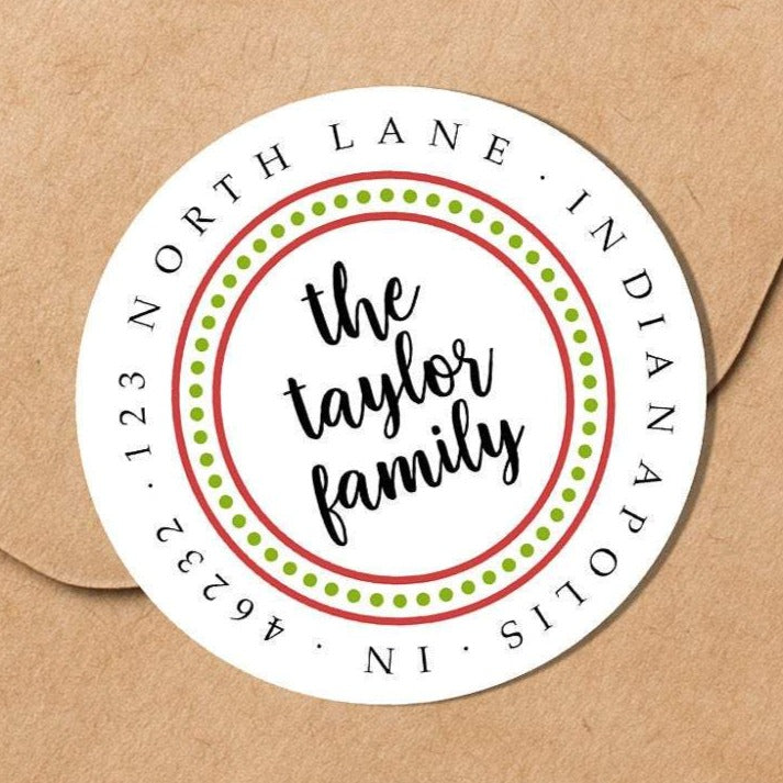 Dotted Border Red and Green Family Sticker - Round Address Label