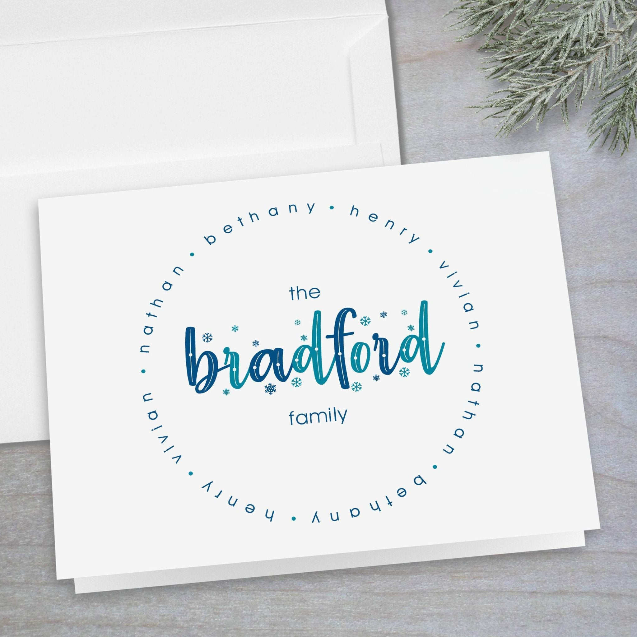 Holiday Blue Family Names - Folded Note Card
