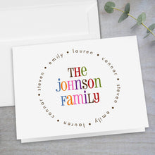 Load image into Gallery viewer, Colorful Family Name - Folded Note Card